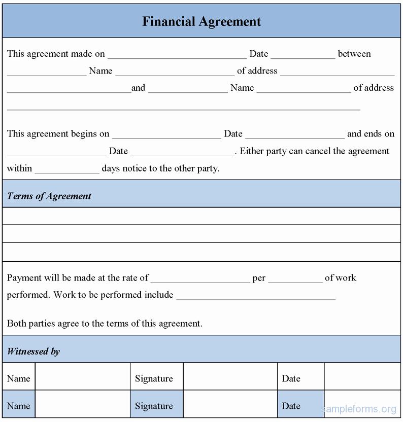 Dental Financial Agreement Template Elegant Financial Agreement form Sample forms