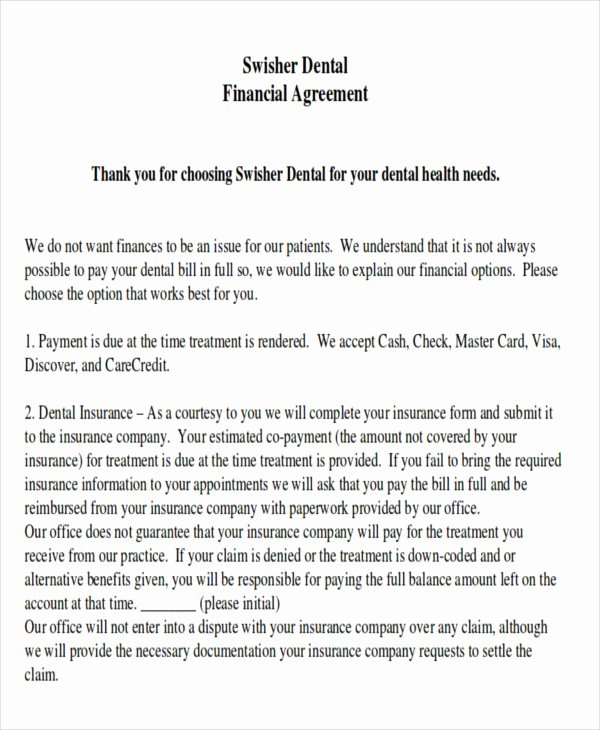 Dental Financial Agreement Template Elegant Sample Payment Plan Agreement 10 Examples In Word Pdf