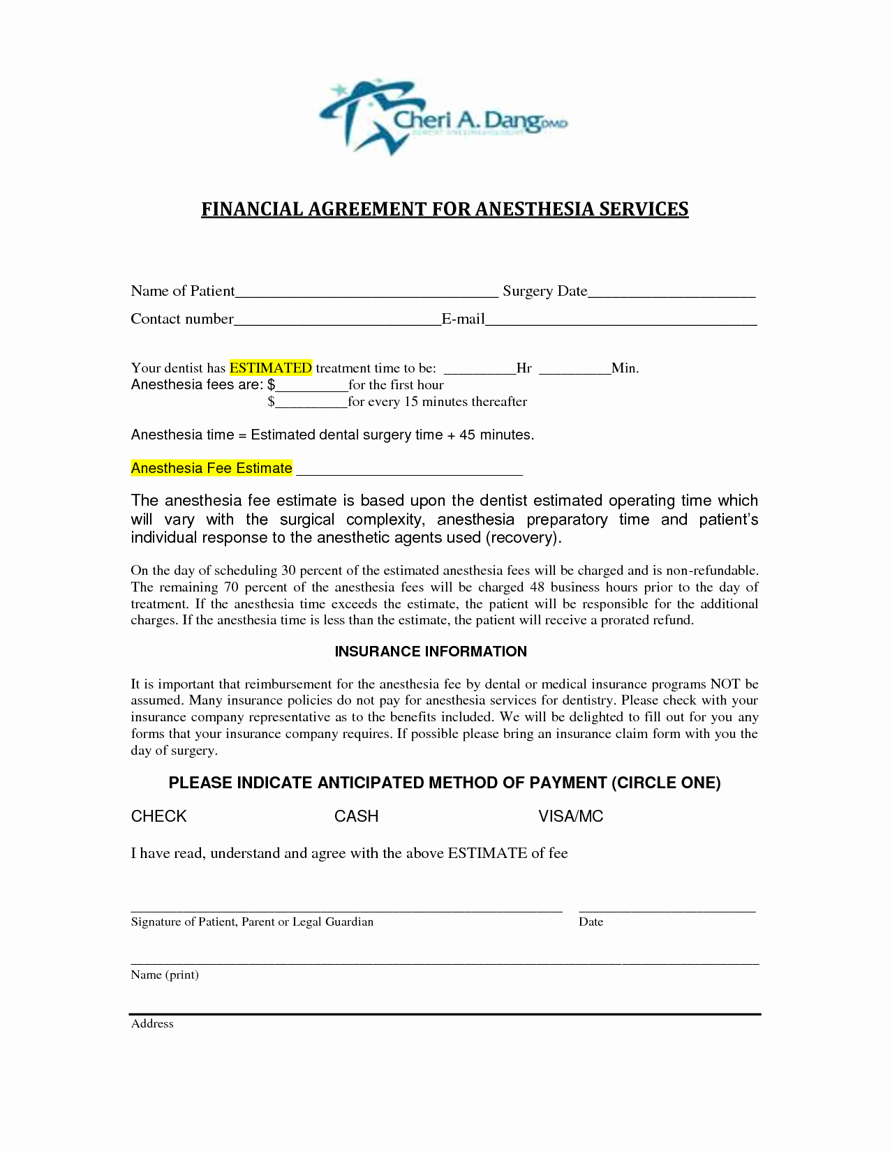 Dental Financial Agreement Template Lovely 6 Best Of Dental Financial Agreement Template