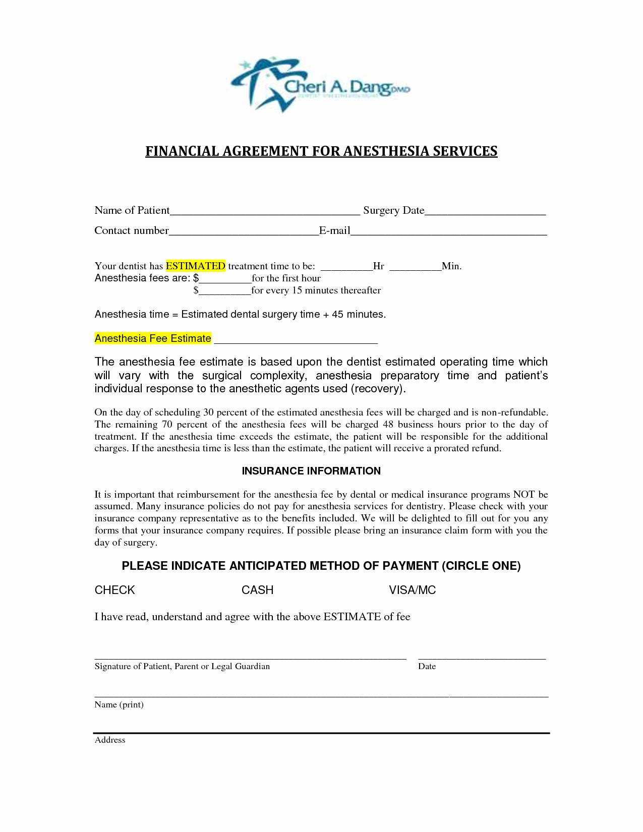Dental Financial Agreement Template Lovely 6 Best Of Dental Financial Agreement Template