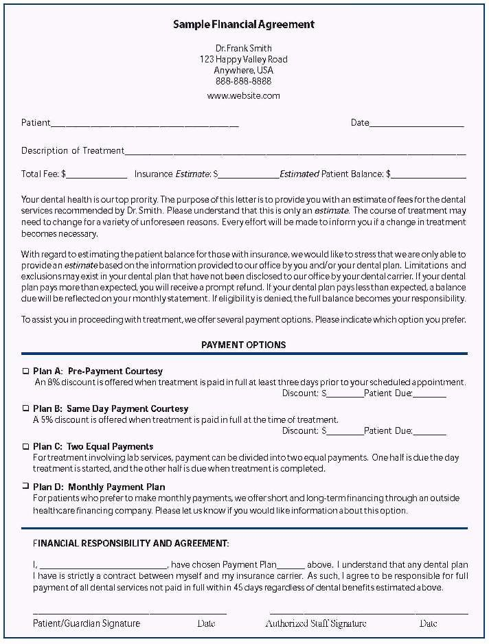 Dental Financial Agreement Template Lovely Agreement Template Category Page 1 Efoza