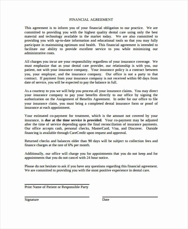 Dental Financial Agreement Template Unique 39 Agreement Templates In Pdf