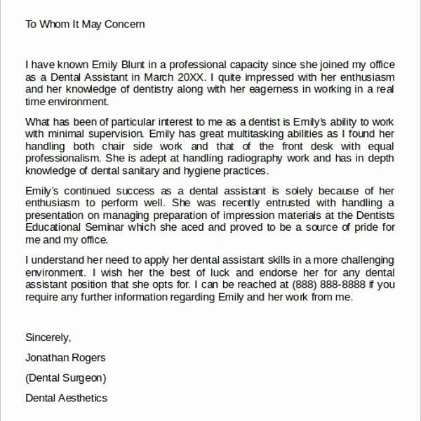 Dental Letter Of Recommendation Unique Dental assistant Letter Re Mendation