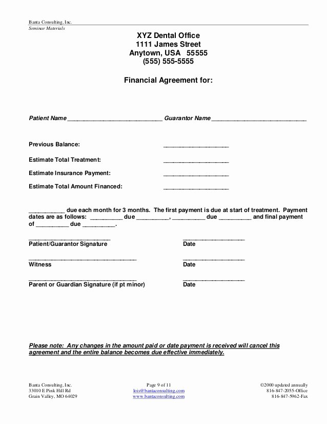 Dental Payment Plan Agreement Template Elegant 23 Of Patient Payment Agreement Template
