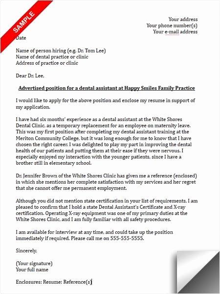 Dental School Recommendation Letter Awesome Dental assistant Cover Letter Sample