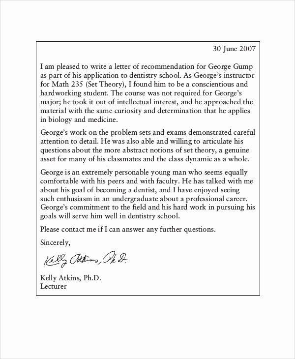 Dental School Recommendation Letter Awesome Examples Of Re Mendation Letter