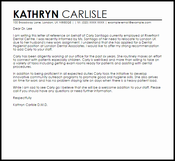 Dental School Recommendation Letter Inspirational Dental Hygienist Reference Letter Example