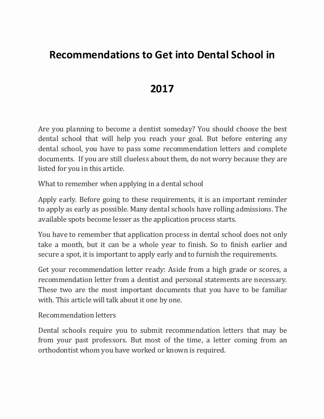 Dental School Recommendation Letter New How to Into Dental School In 2017