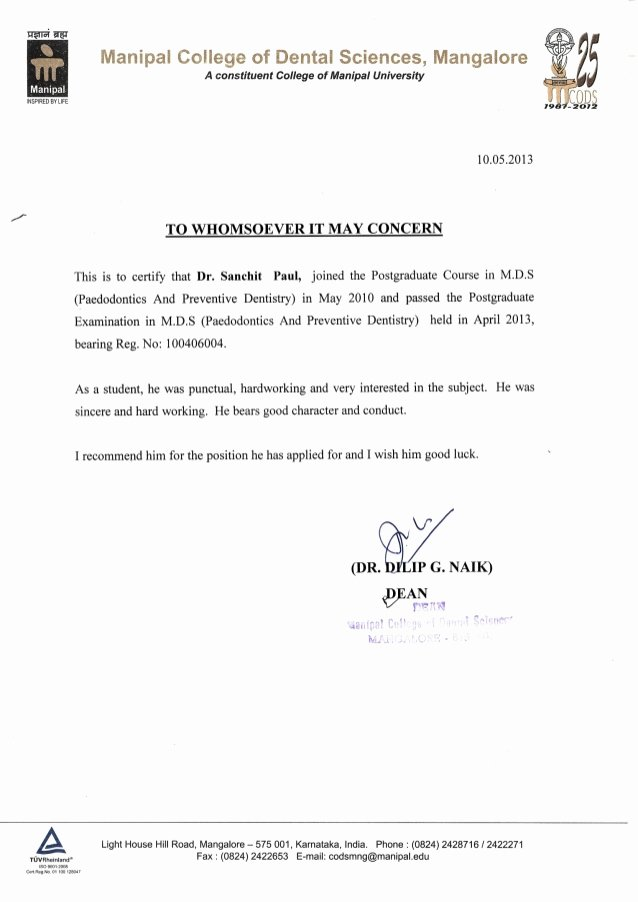 Dental School Recommendation Letter New Letter Of Re Mendation From Dean Manipal College Of