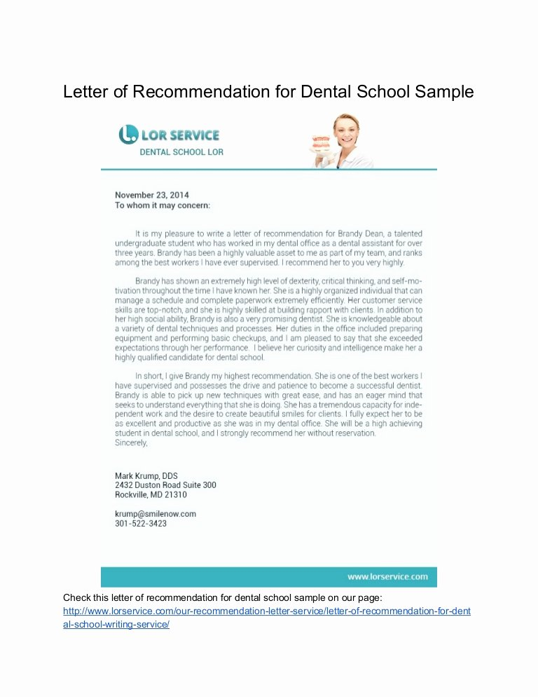 Dental School Recommendation Letter Unique Samples Of Letter Of Re Mendation