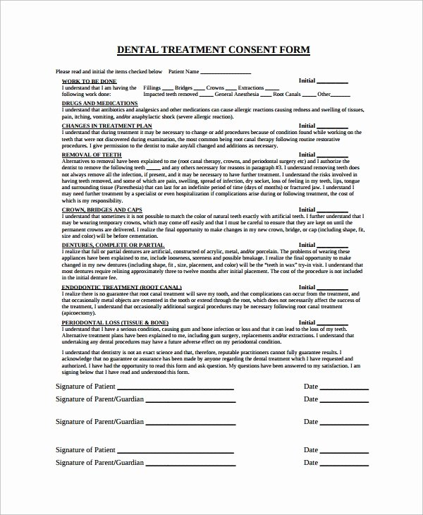 Dental Treatment Plan Template Awesome Sample Dental Consent form 5 Documents In Pdf