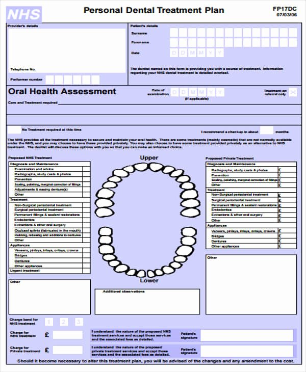 Dental Treatment Plan Template Fresh 8 Treatment Plan Samples & Templates