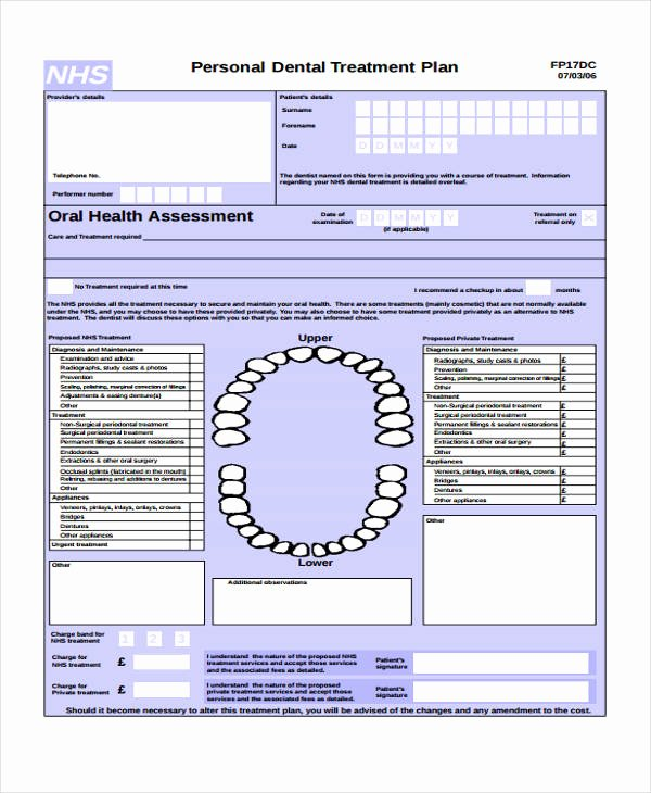 Dental Treatment Plan Template Lovely 29 Free Treatment Plan Templates