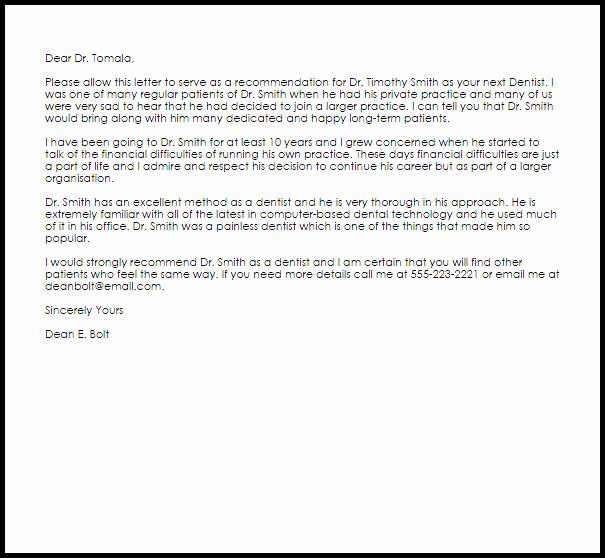 Dentist Letter Of Recommendation Beautiful Dentist Re Mendation Letter