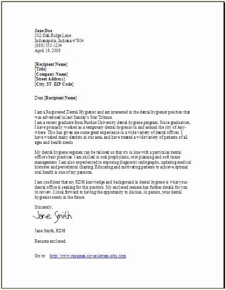 Dentist Letter Of Recommendation Elegant Dental Hygienist Cover Letter Example Sample