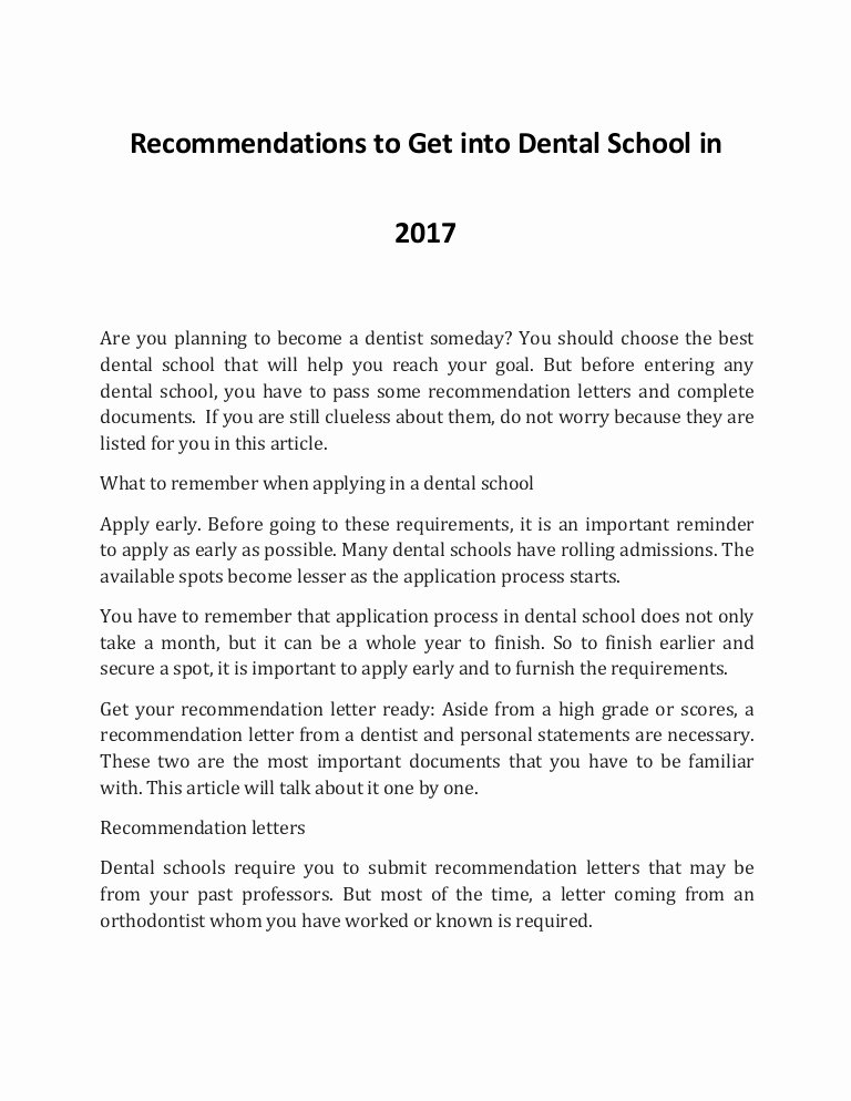 Dentist Letter Of Recommendation Unique How to Into Dental School In 2017