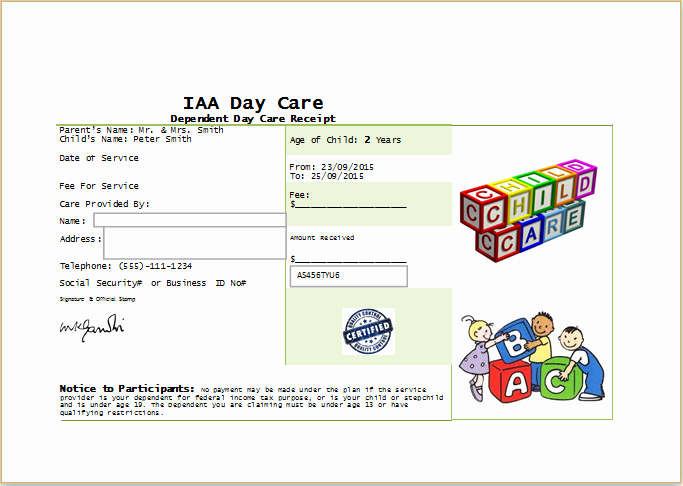 Dependent Care Receipt Template Best Of Ms Word Printable Daycare Receipt Template