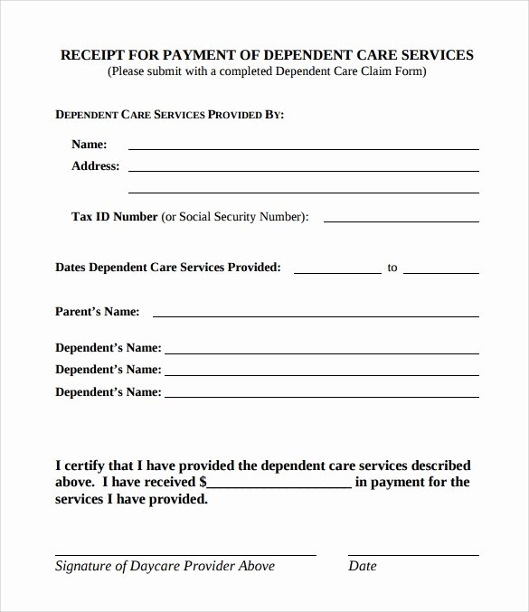 Dependent Care Receipt Template Best Of Simple Receipt Template 10 Free Samples Examples format