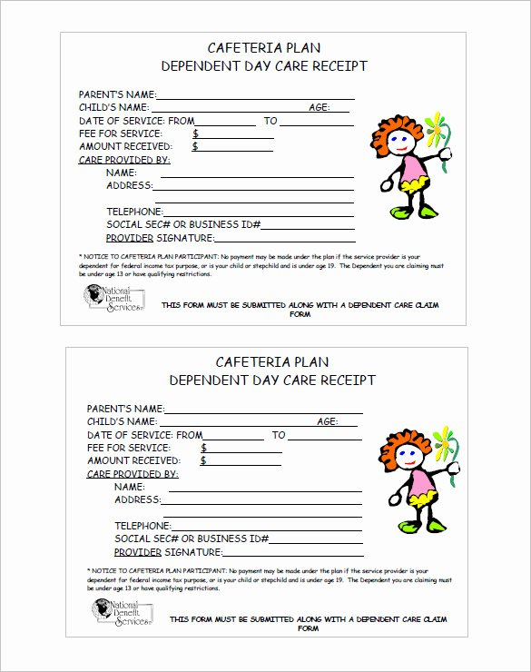 Dependent Care Receipt Template Elegant 20 Daycare Receipt Templates Doc Pdf