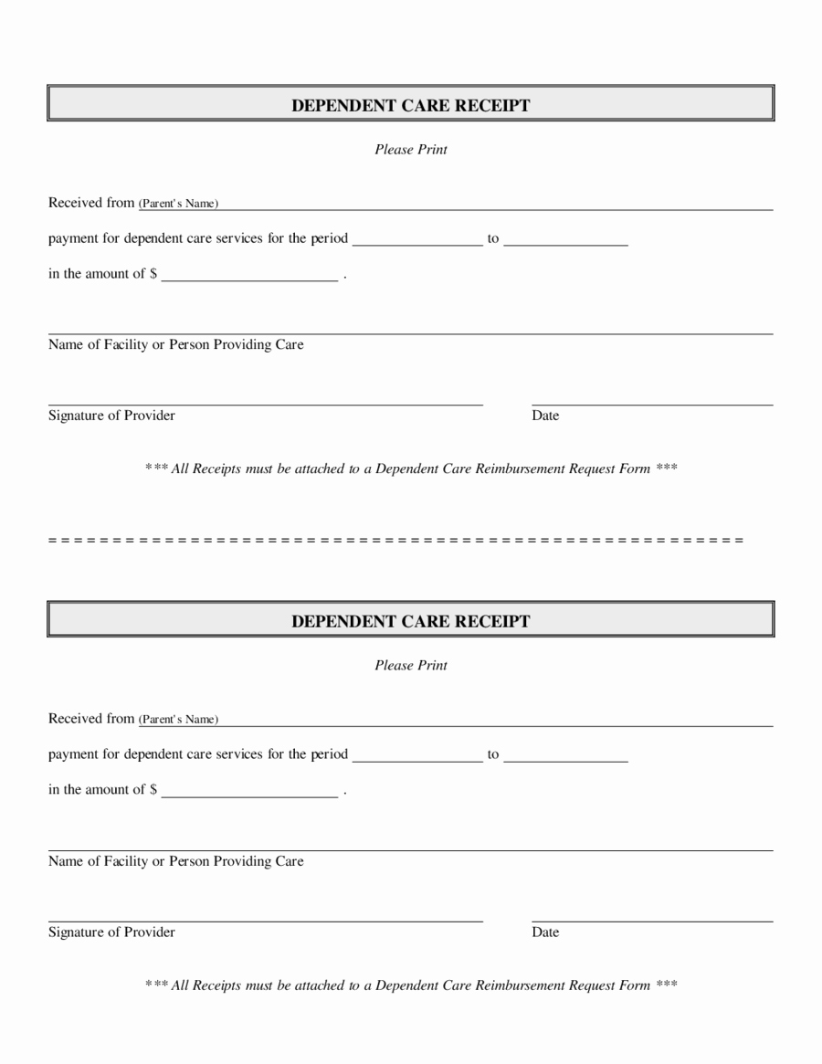 Dependent Care Receipt Template New 4 Dependent Care Receipt Templates Word Excel Templates