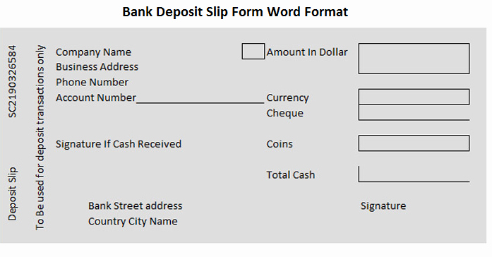 Deposit Slips Template Word Elegant Bank Deposit Slip form Word format