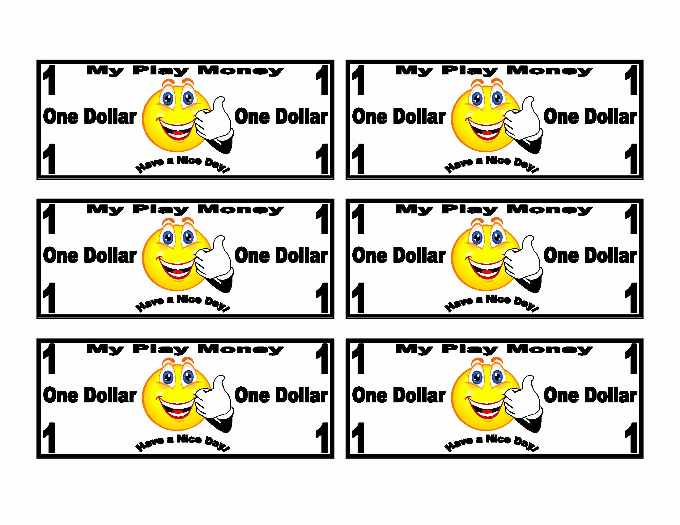 play money templates smiley