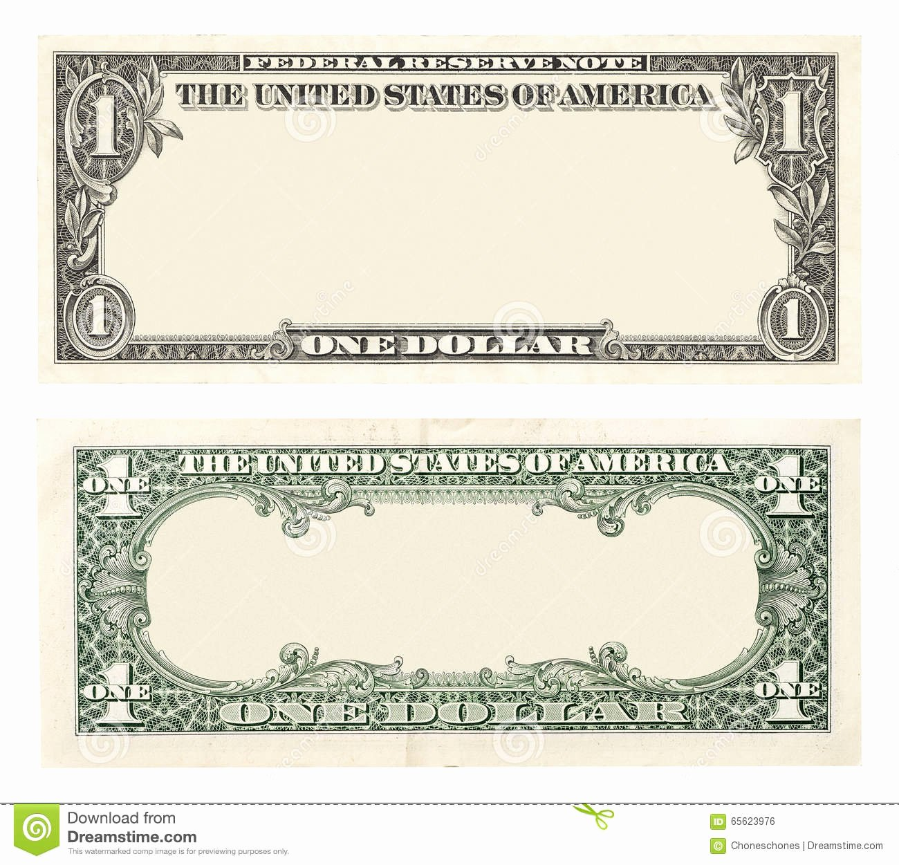 Design Your Own Money Template Unique Blank E Dollar Bill Stock Image