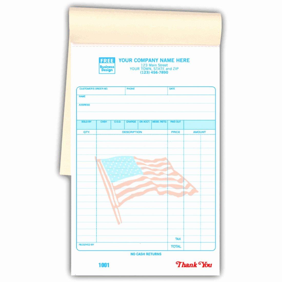 Design Your Own Receipt Book Unique Special Wording Custom Patriotic Receipts In A Book