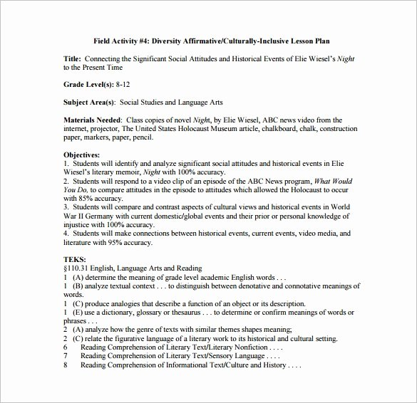 Detailed Lesson Plan Template Best Of 8 Lesson Plan Templates – Free Sample Example format