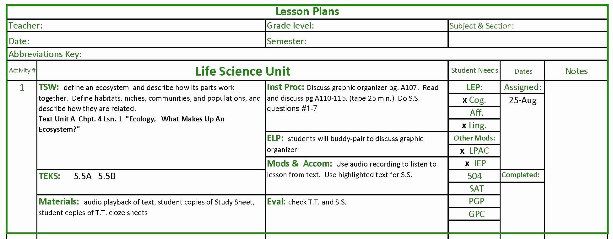Detailed Lesson Plan Template New Sample Lesson Plan In Science Grade 7 Sample