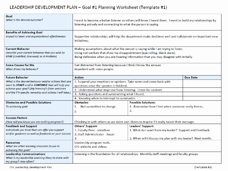 Development Action Plan Template Fresh Leadership Development Plan