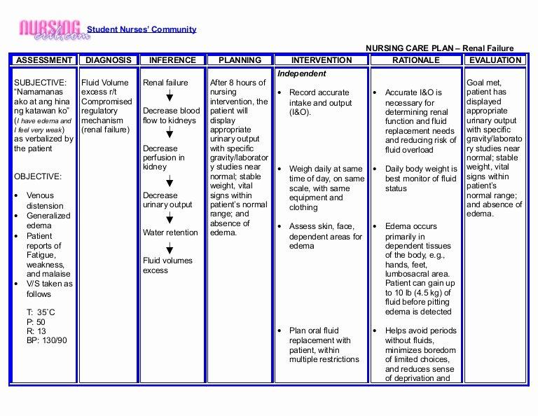 nursing crib nursing care plan renal failure