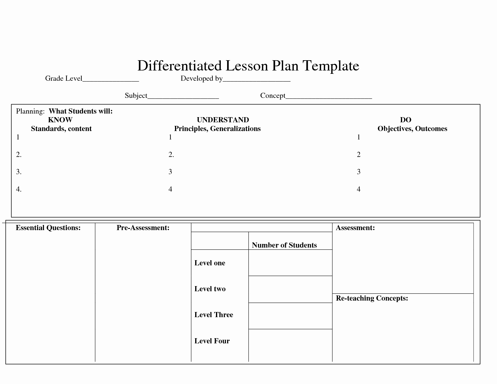 Differentiated Instruction Lesson Plan Template Awesome Differentiatedlearning