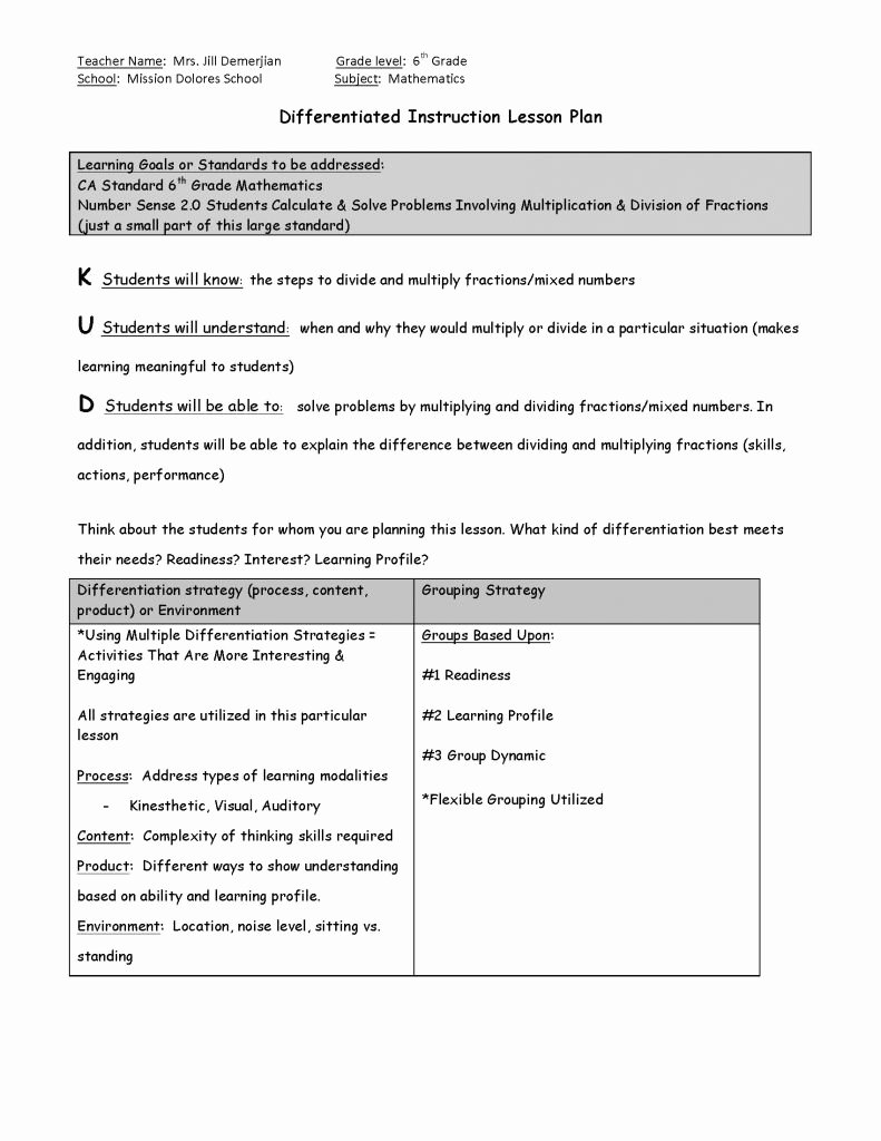 Differentiated Instruction Lesson Plan Template Elegant Differentiated Instruction Lesson Template Pdf format