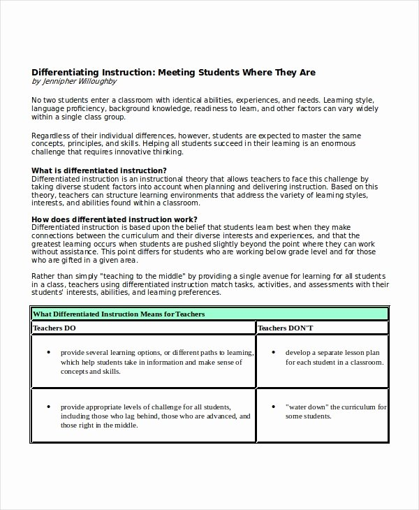 Differentiated Lesson Plan Template Unique Differentiated Instruction Template 7 Free Word Pdf
