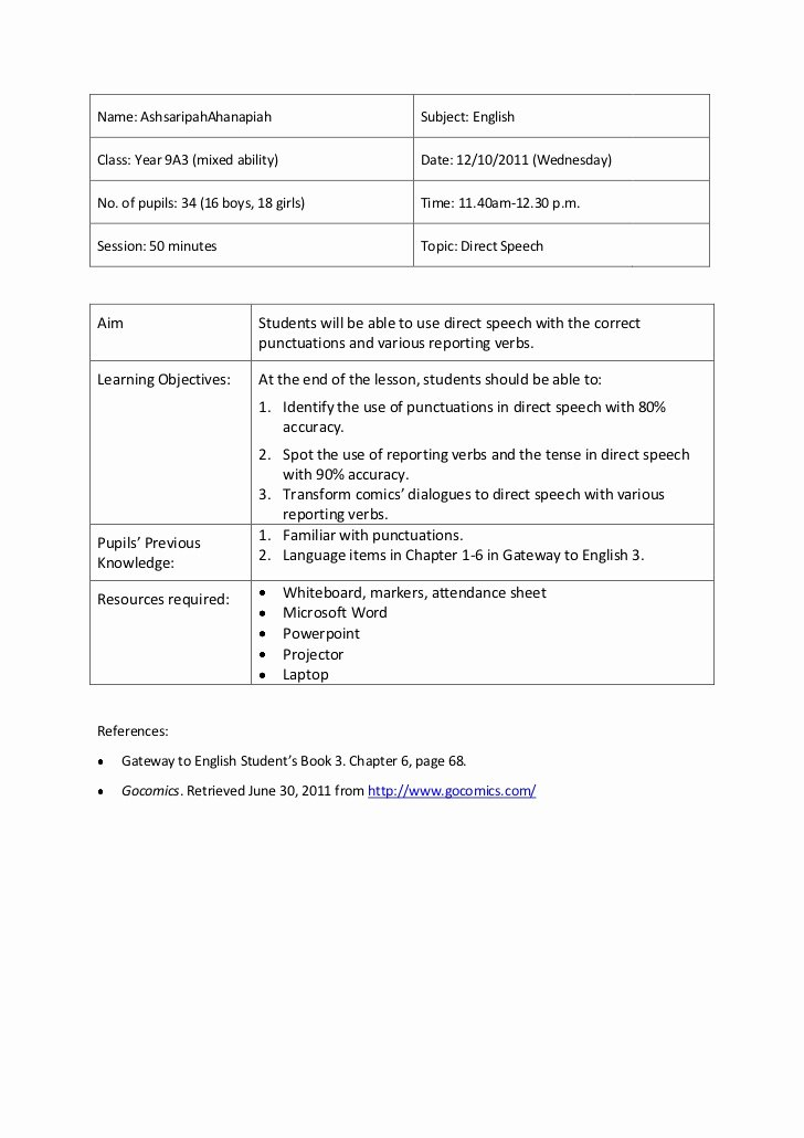 Direct Instruction Lesson Plan Template Fresh Lesson Plan 5 Direct Speech