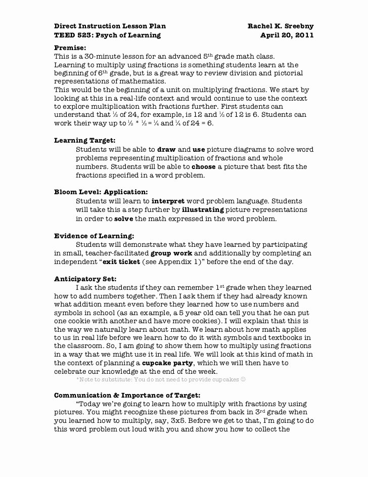 Direct Instruction Lesson Plan Template Inspirational Direct Instruction Lesson to Print
