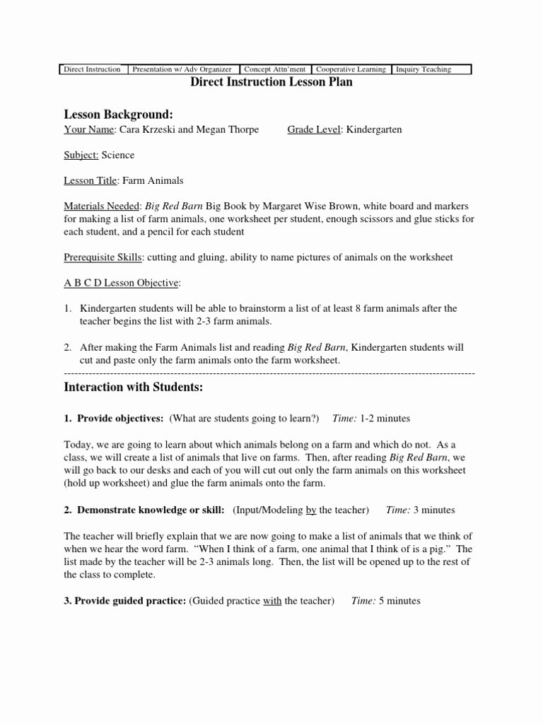 Direct Instruction Lesson Plan Template Inspirational Kindergarten Setting Worksheet