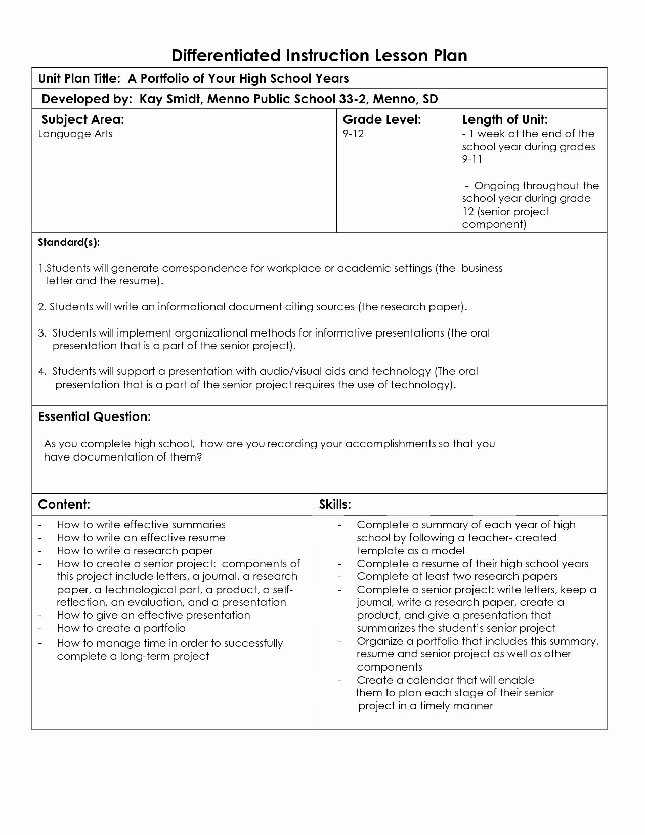 Direct Instruction Lesson Plan Template Lovely Differentiated Instruction Lesson Plan Examples