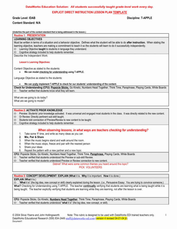 Direct Instruction Lesson Plan Template Luxury Explicit Instruction Lesson Plan Template – Lesson Plan 2