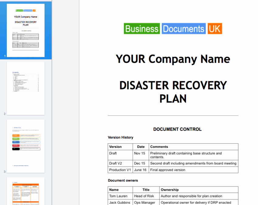 Disaster Recovery Plan Template Elegant Disaster Recovery Plan Template Essential Cover