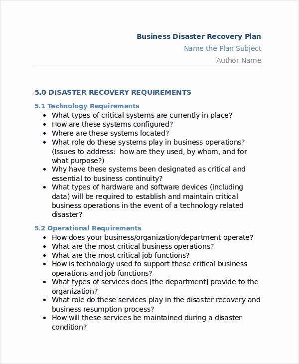 Disaster Recovery Plan Template Inspirational 12 Disaster Recovery Plan Templates Free Sample