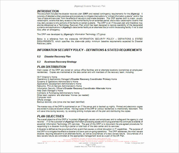 Disaster Recovery Plan Template Inspirational 7 Disaster Recovery Plan Templates Free Pdf Doc formats