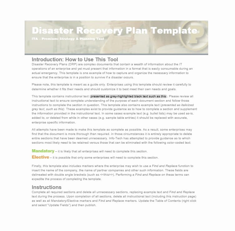 Disaster Recovery Plan Template Lovely 52 Effective Disaster Recovery Plan Templates [drp