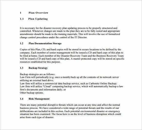 Disaster Recovery Plan Template Luxury 13 Disaster Recovery Plan Templates – Free Sample