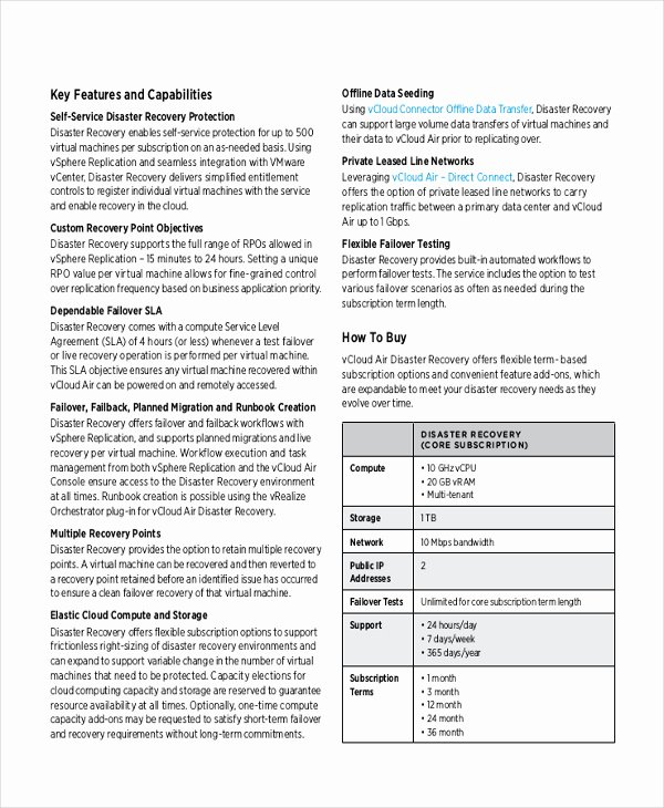 Disaster Recovery Plan Template Unique Disaster Recovery Plan Example