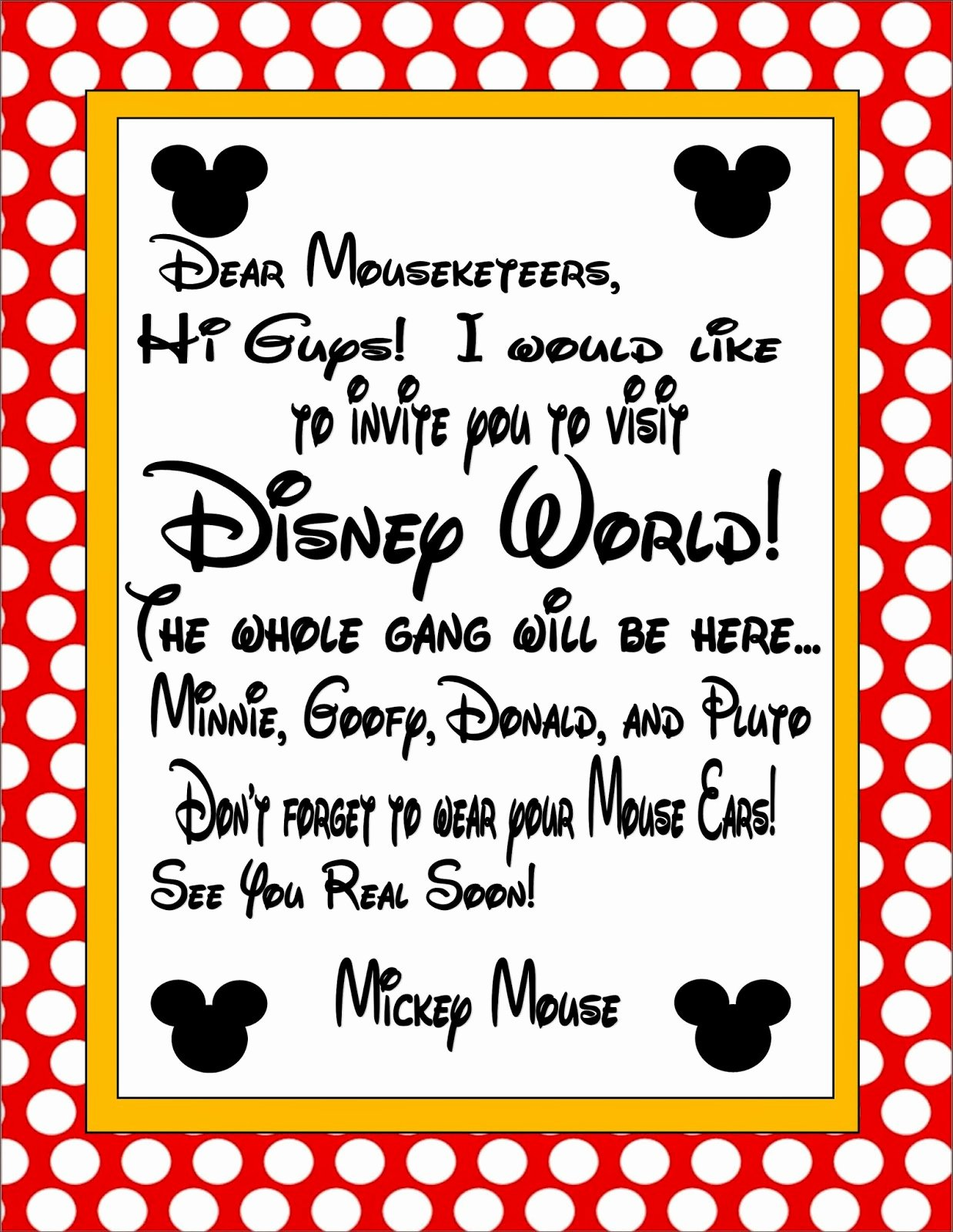 Disney Surprise Letter Template Inspirational Two Magical Moms Invitation to Disney World