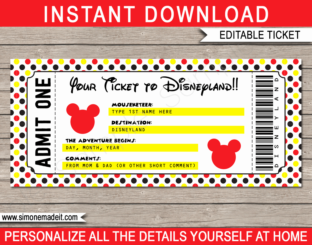 Disney Surprise Letter Template Lovely Printable Ticket to Disneyland
