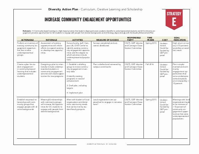 Diversity Strategic Plan Template Fresh Diversity Action Plan 2014