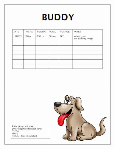 Dog Training Plan Template Unique Free Printable Dog Walking Log Templates